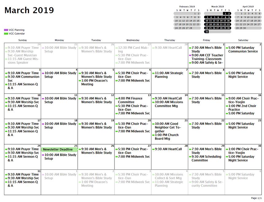 Vistoso Community Church :: Calendar